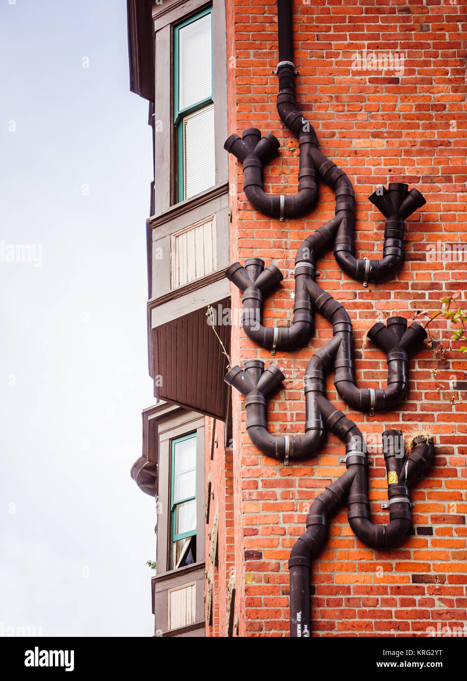 Rain pipes on the wall - Stock Image