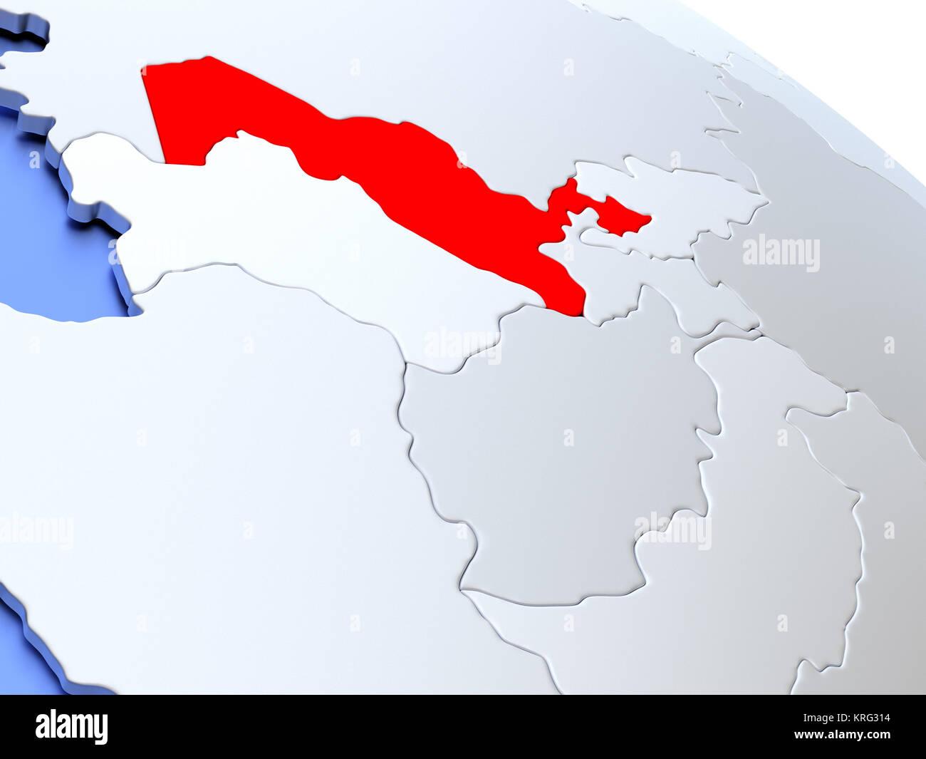 Uzbekistan on world map Stock Photo: 169384016 - Alamy