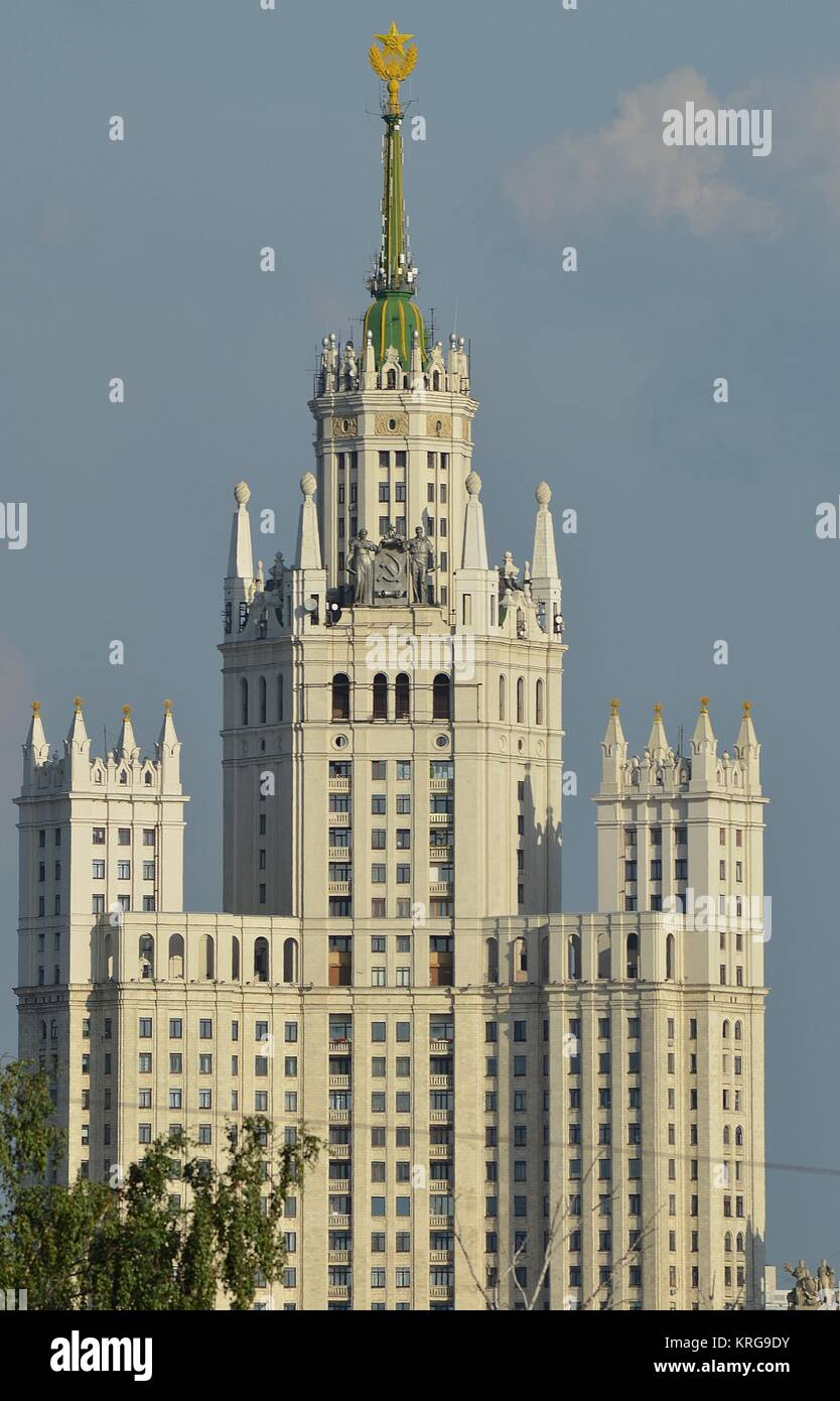 KOTELNICHESKAYA EMBANKMENT BUILDING, ONE OF THE 'SEVEN SISTERS' BUILDINGS IN MOSCOW. Stock Photo