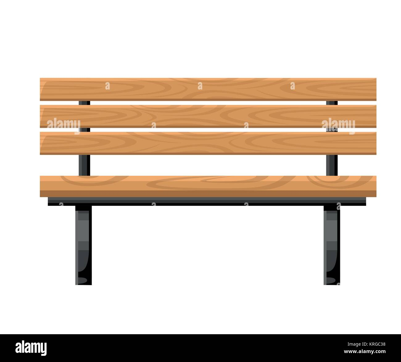 Outdoor Bench Metal And Wood Front View Object For Park Cottage And