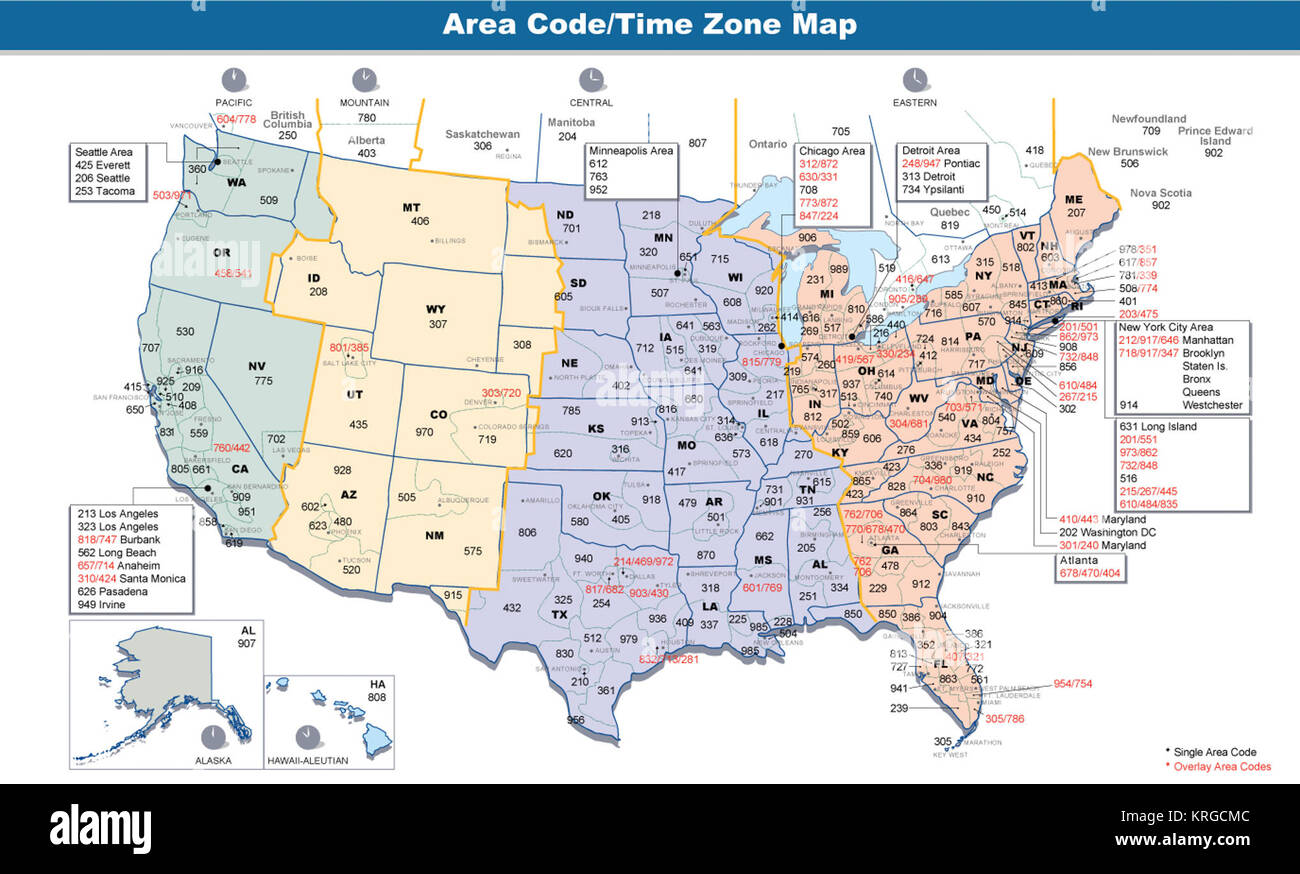 Area codes & time zones US Stock Photo: 169391612 - Alamy