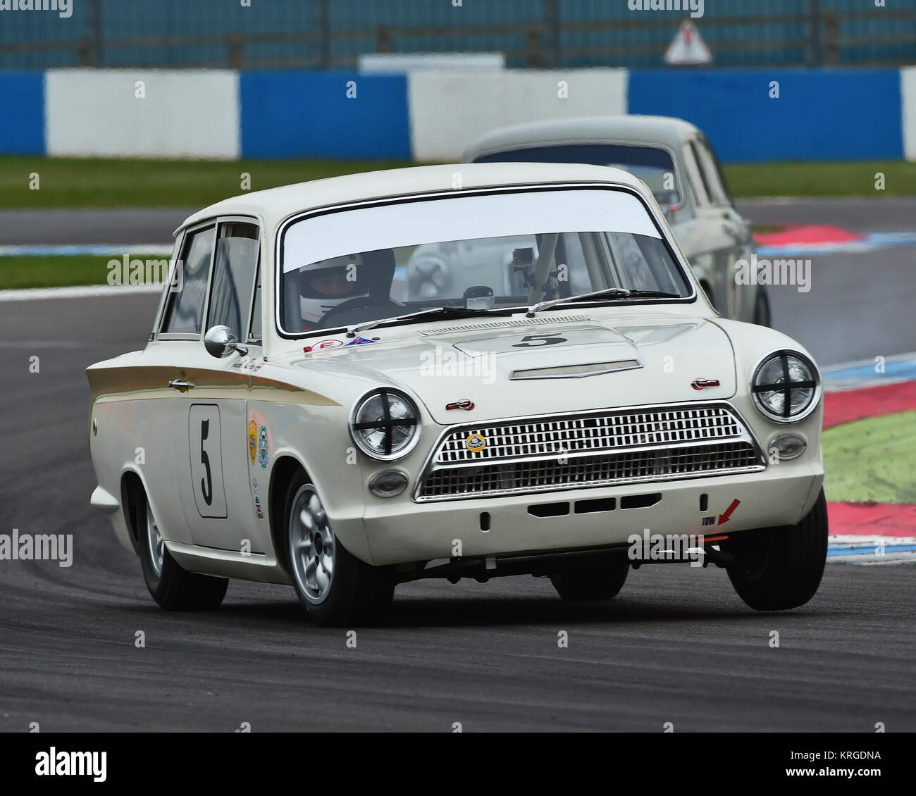 Graeme Kersley, Terry Drury, Ford Lotus Cortina Mk1, HRDC, Coys Trophy, Pre-66 Touring Cars, Donington Historic - Stock Image