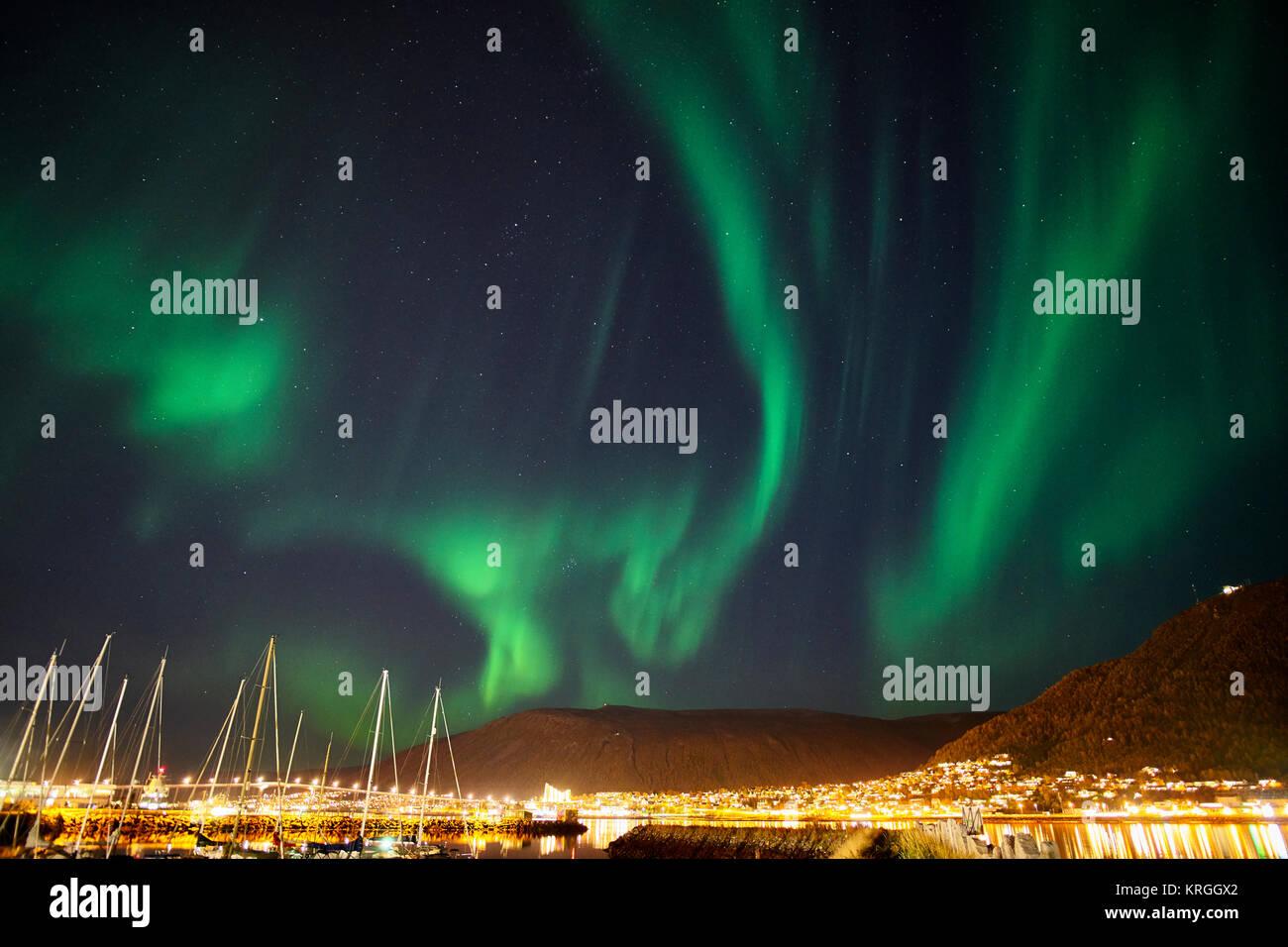 Aurora Borealis, Northern Lights over Tromso, Troms, Norway - Stock Image