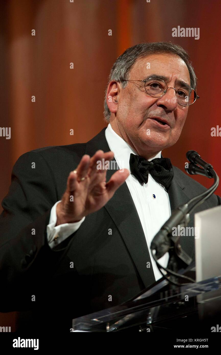 U.S. Secretary of Defense Leon Panetta delivers the keynote address at the Centennial Commemorative Gala for Naval - Stock Image