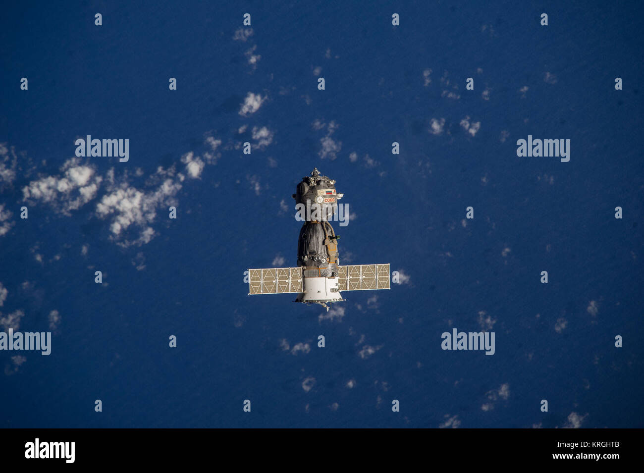 Soyuz TMA-10M spacecraft departs from the ISS - Stock Image