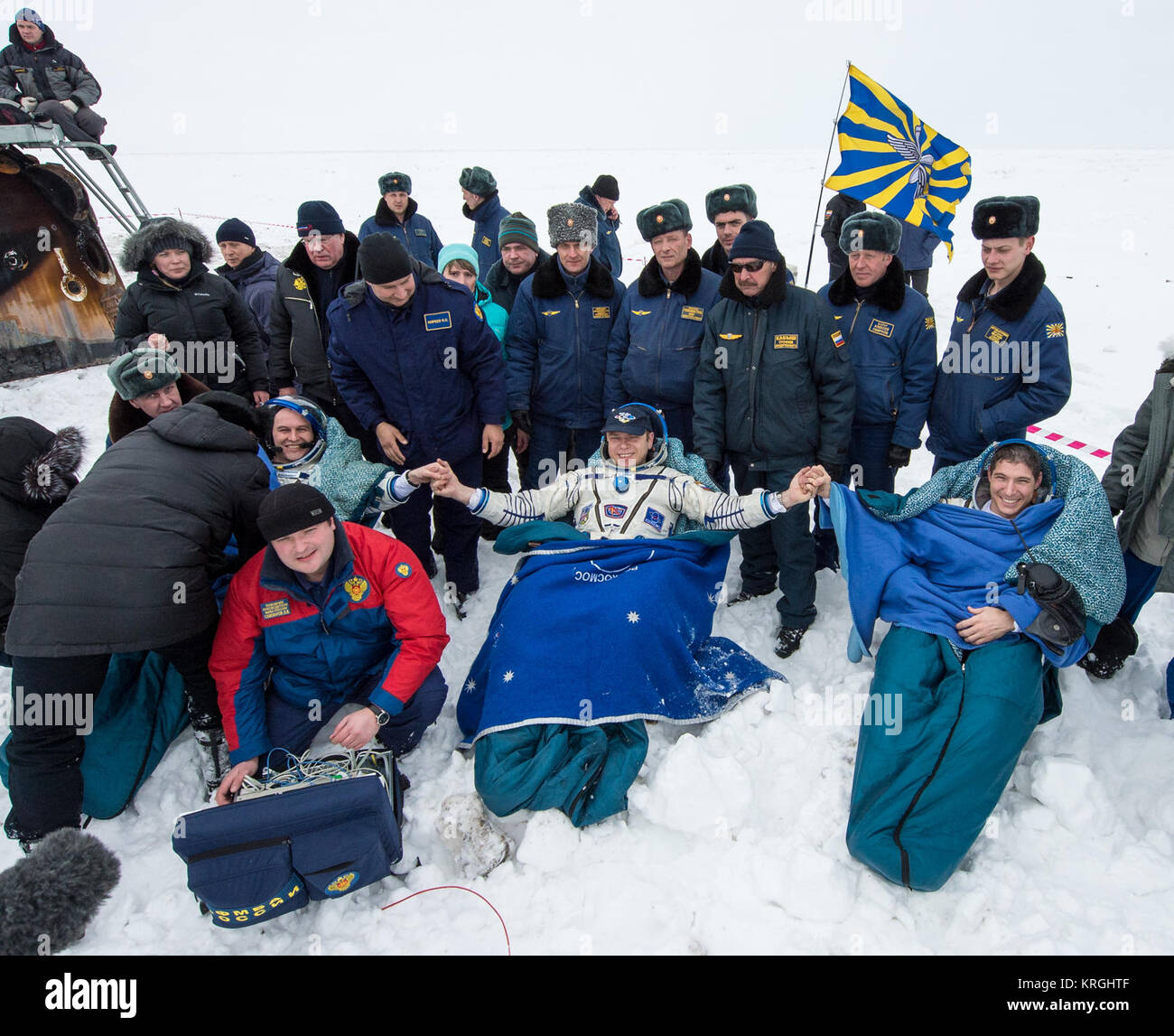 Expedition 38 Flight Engineer Sergey Ryazanskiy of the Russian Federal Space Agency, Roscosmos, left, Commander - Stock Image