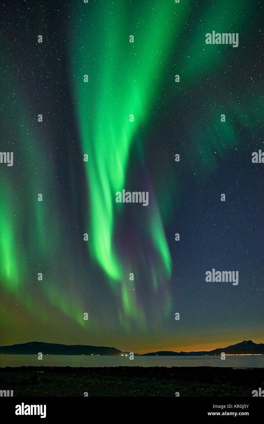 Aurora Borealis, Northern Lights from Russelv, Lyngen, Troms, Norway - Stock Image
