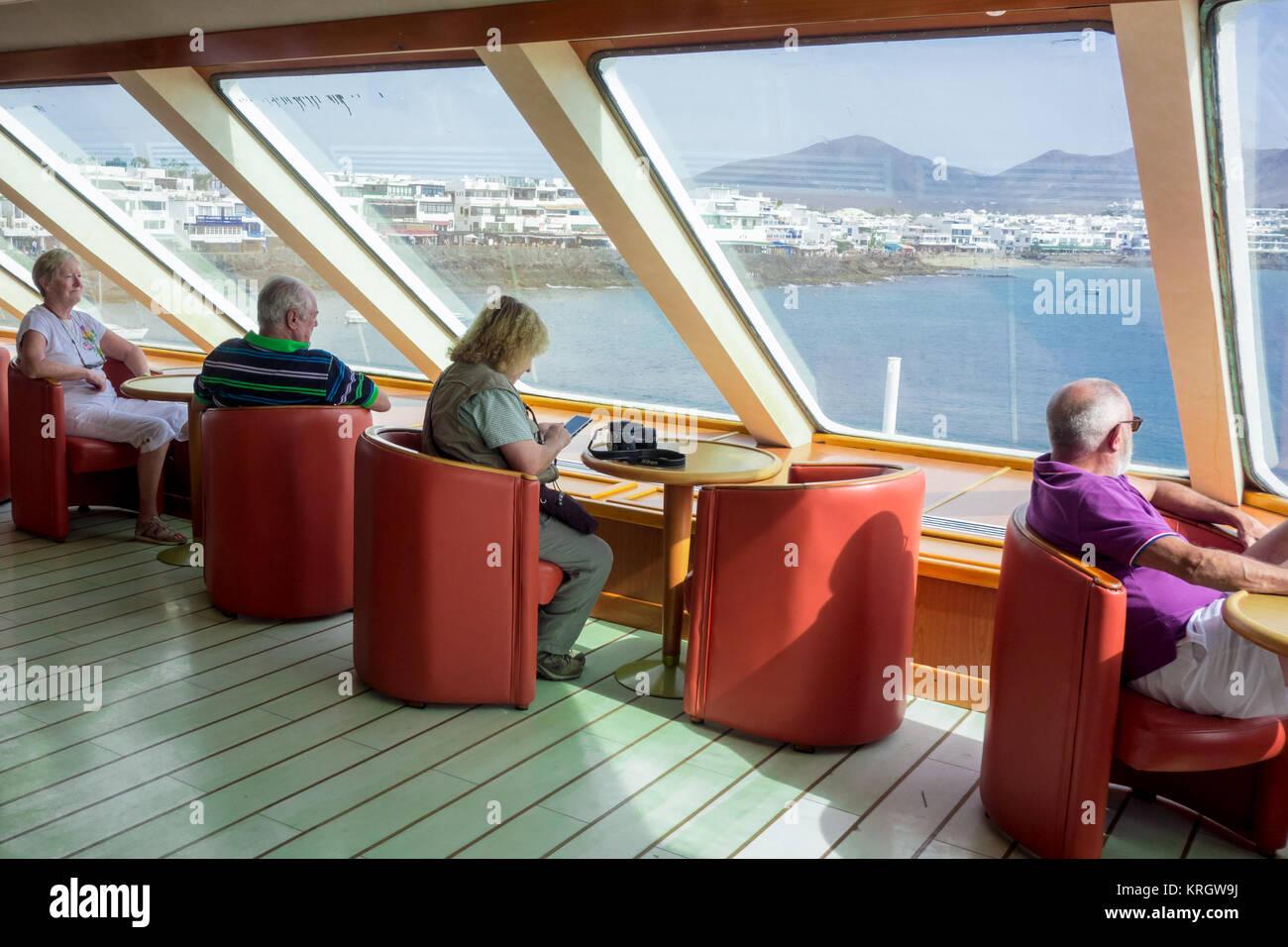 LANZAROTE, SPAIN -  7th Nov 2017: Passengers on board the Naviera Armas ferry that travels between Playa Blanca Stock Photo