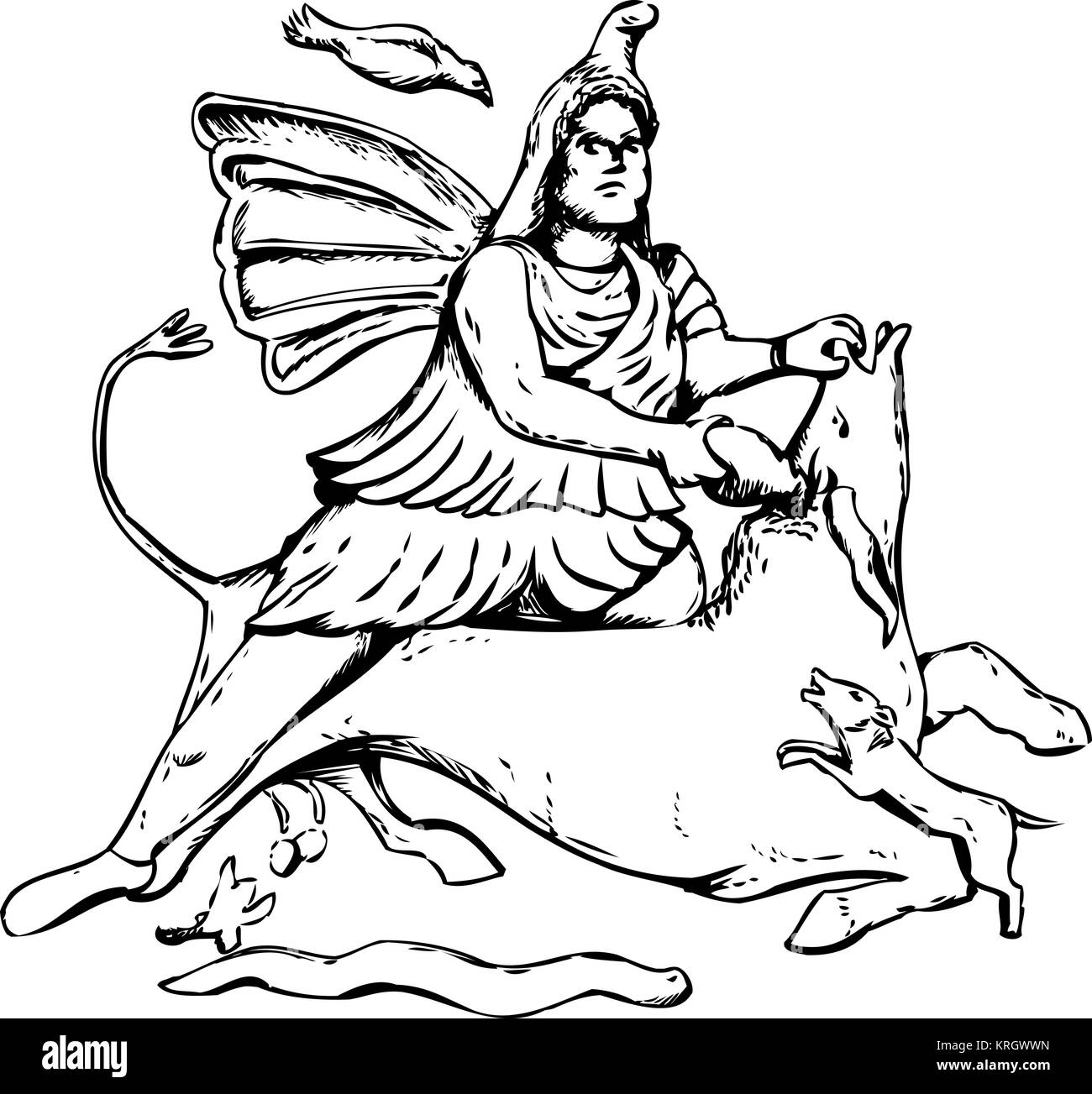 Outline drawing of Mithras slaying a black bull - Stock Image