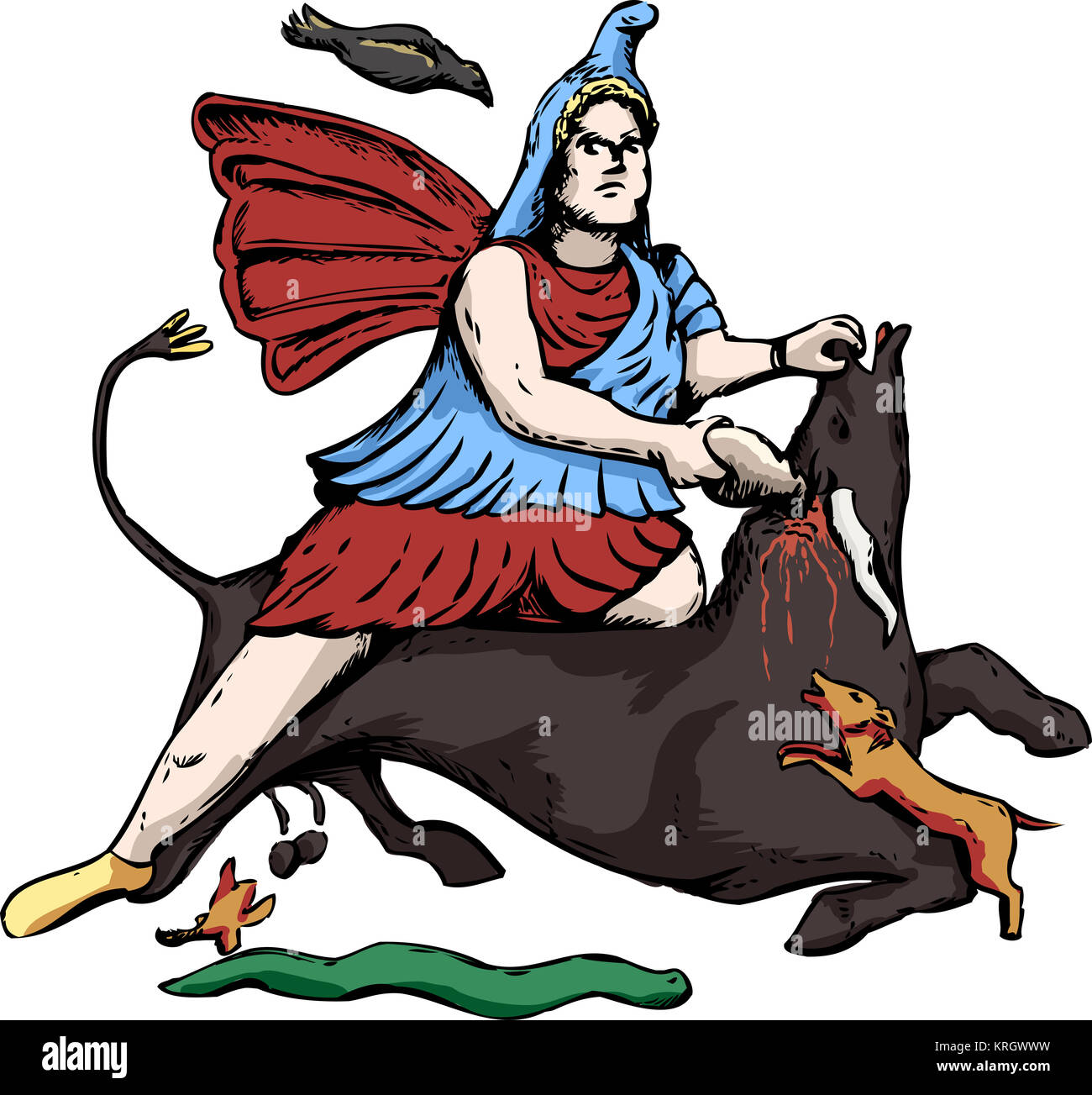 Illustration of Mithras slaying a black bull - Stock Image