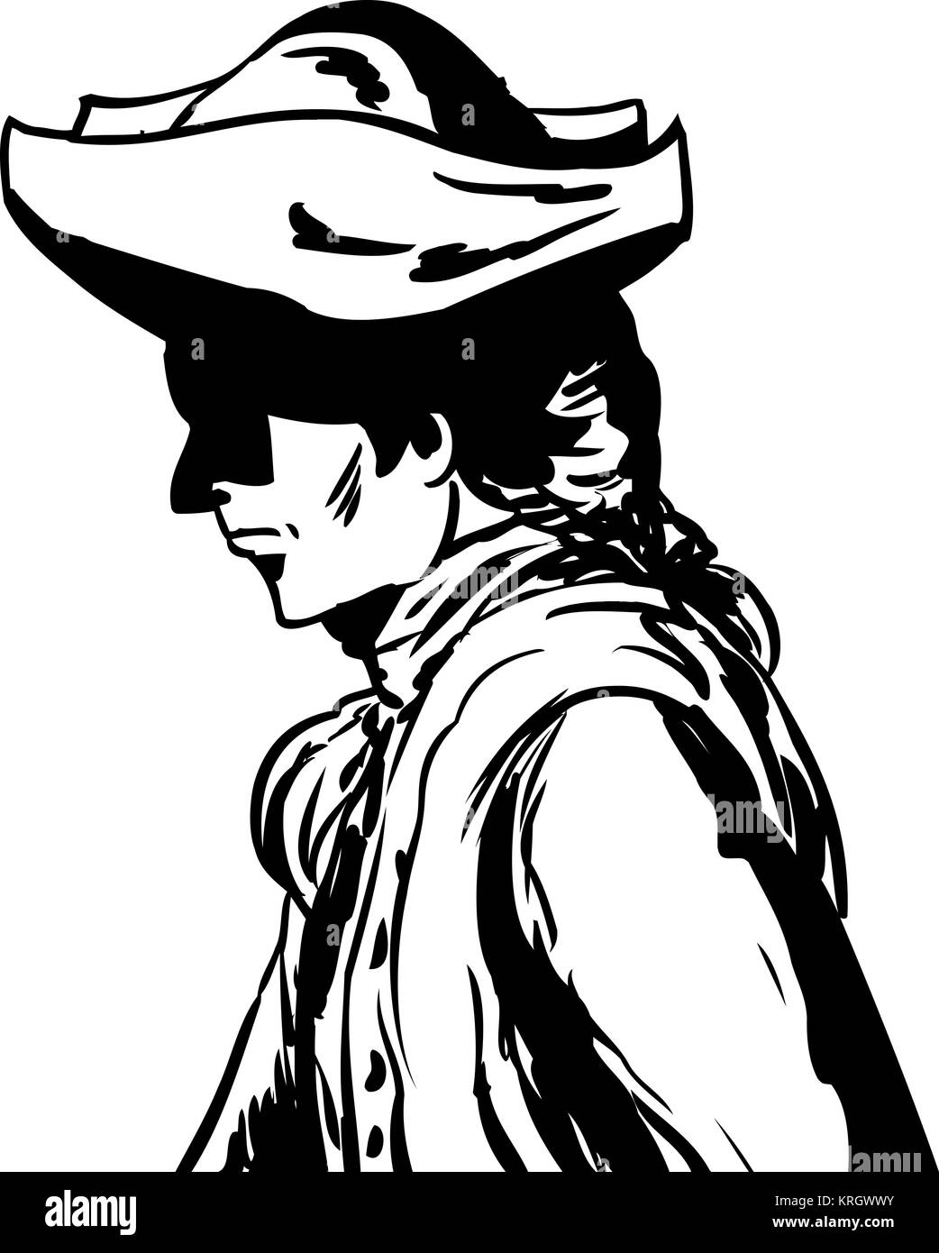 Outlined man in tricorn hat over white - Stock Image
