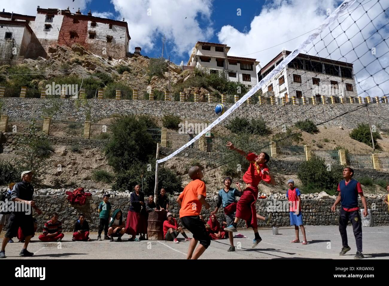 Key Buddhist Monastery Kye Gompa biggest monastery in Spity Valley Himachal Pradesh India young monks playing volleyball - Stock Image