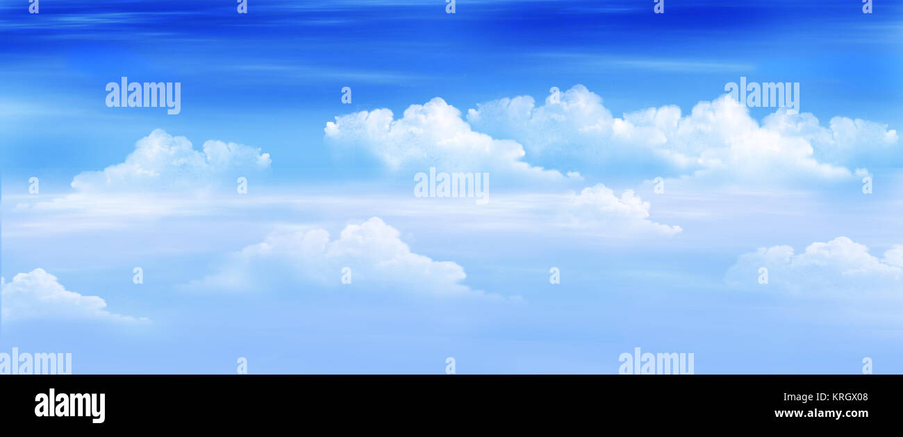 Clouds in a Blue Sky Panorama View - Stock Image