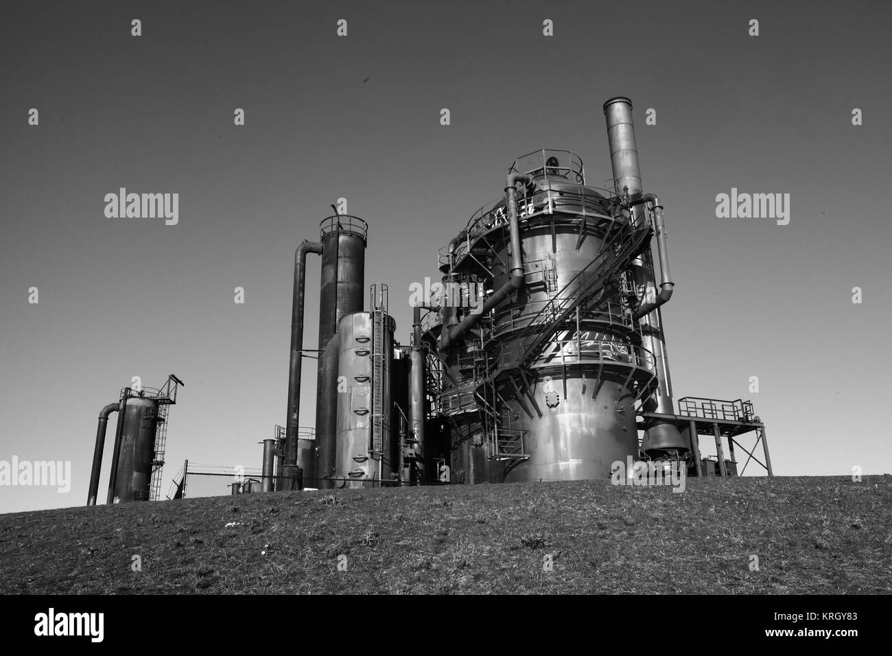 Gas Works in Black and White - Stock Image
