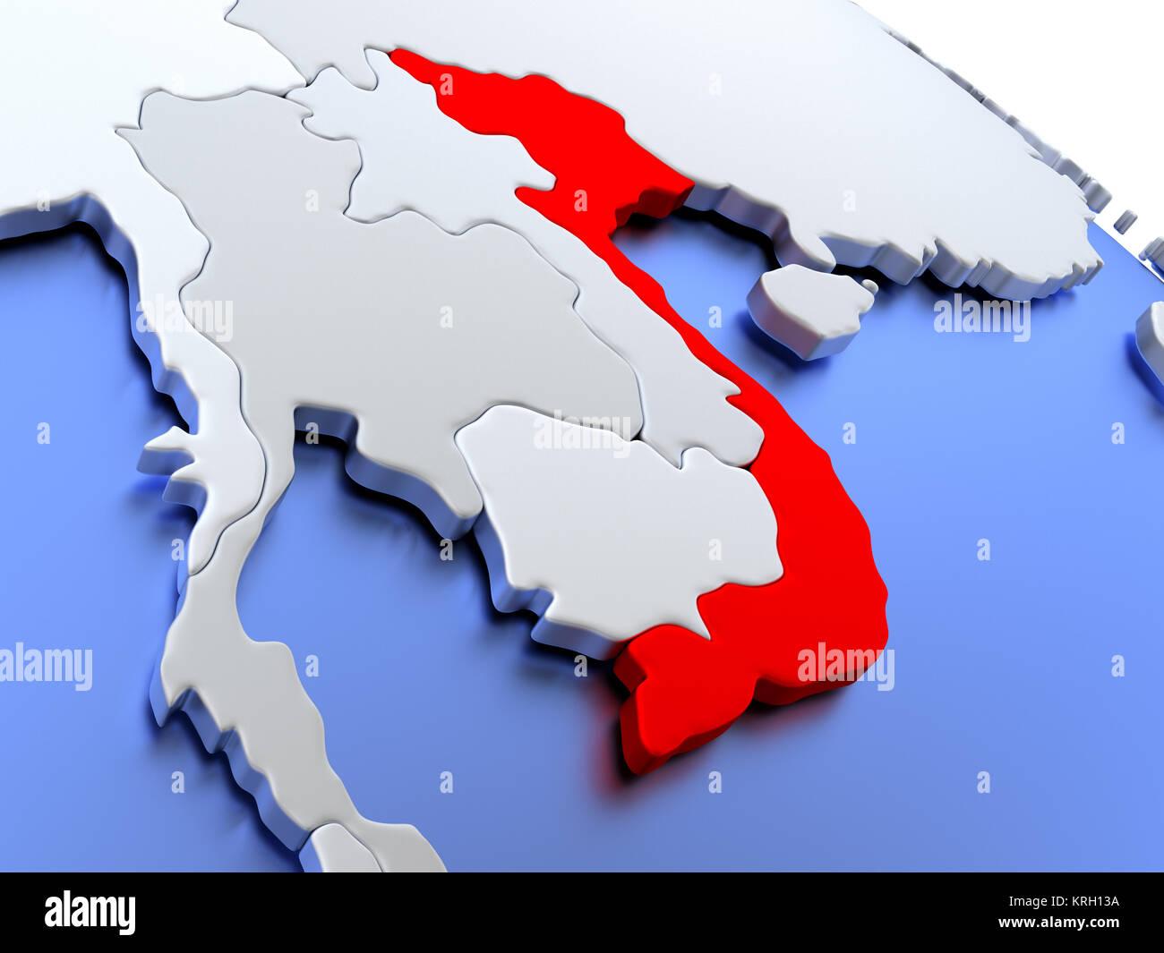 Vietnam on world map Stock Photo: 169404462 - Alamy