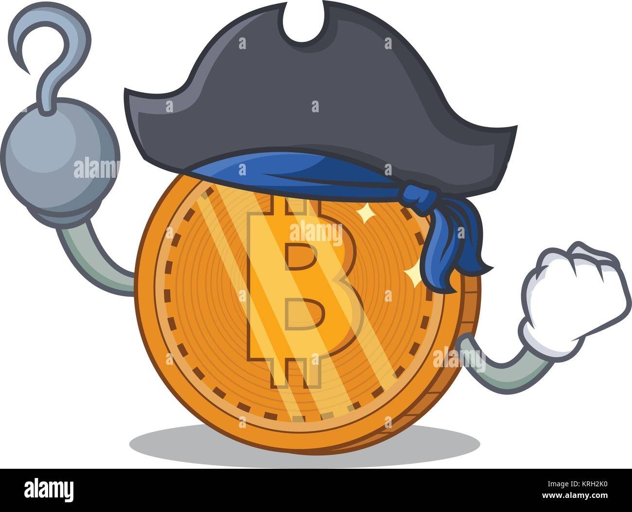 Pirate bitcoin coin character cartoon - Stock Image