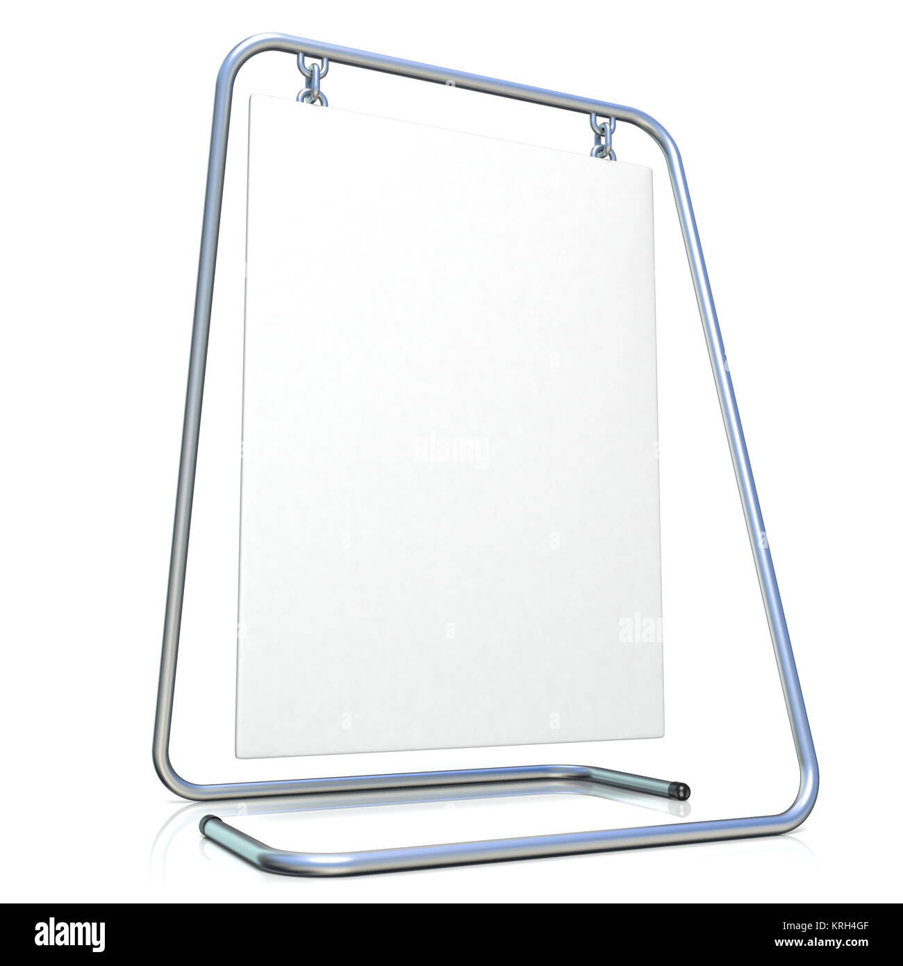 Metal advertising stand, with copy space board. Side view. 3D - Stock Image