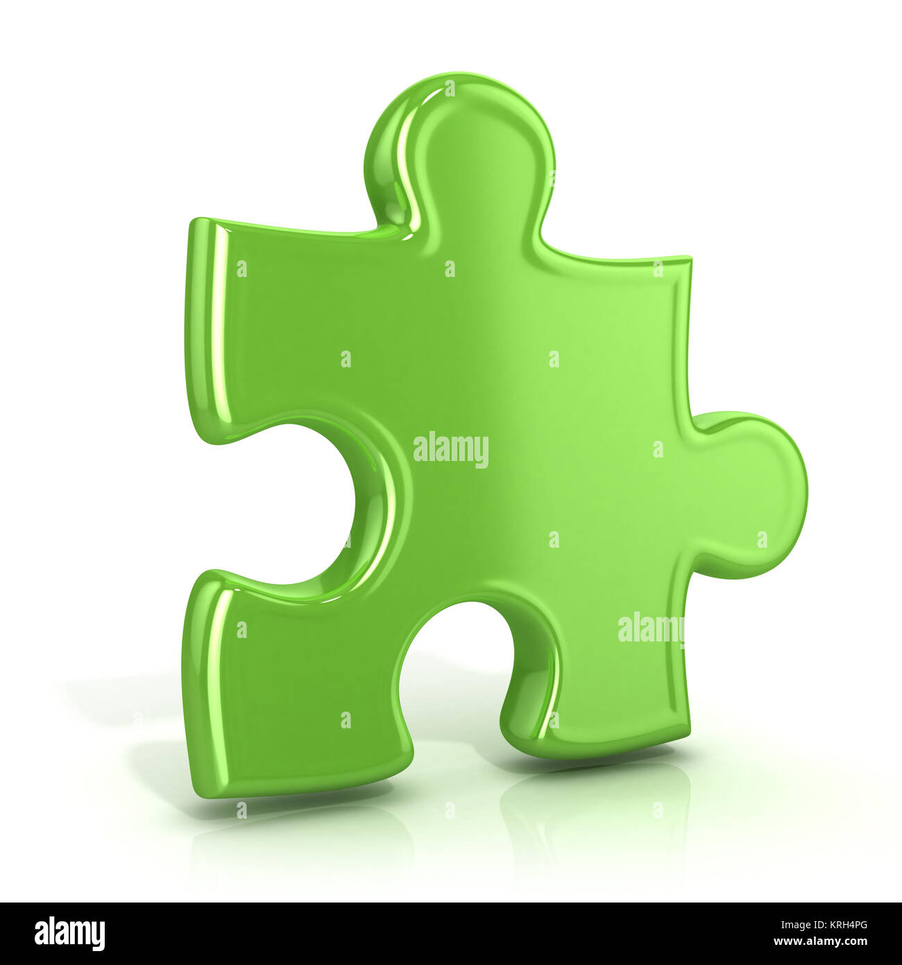 Single Green Standing Jigsaw Puzzle Piece 3D