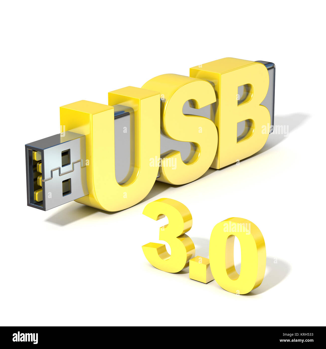 USB flash memory 3.0, made with the word USB. 3D - Stock Image