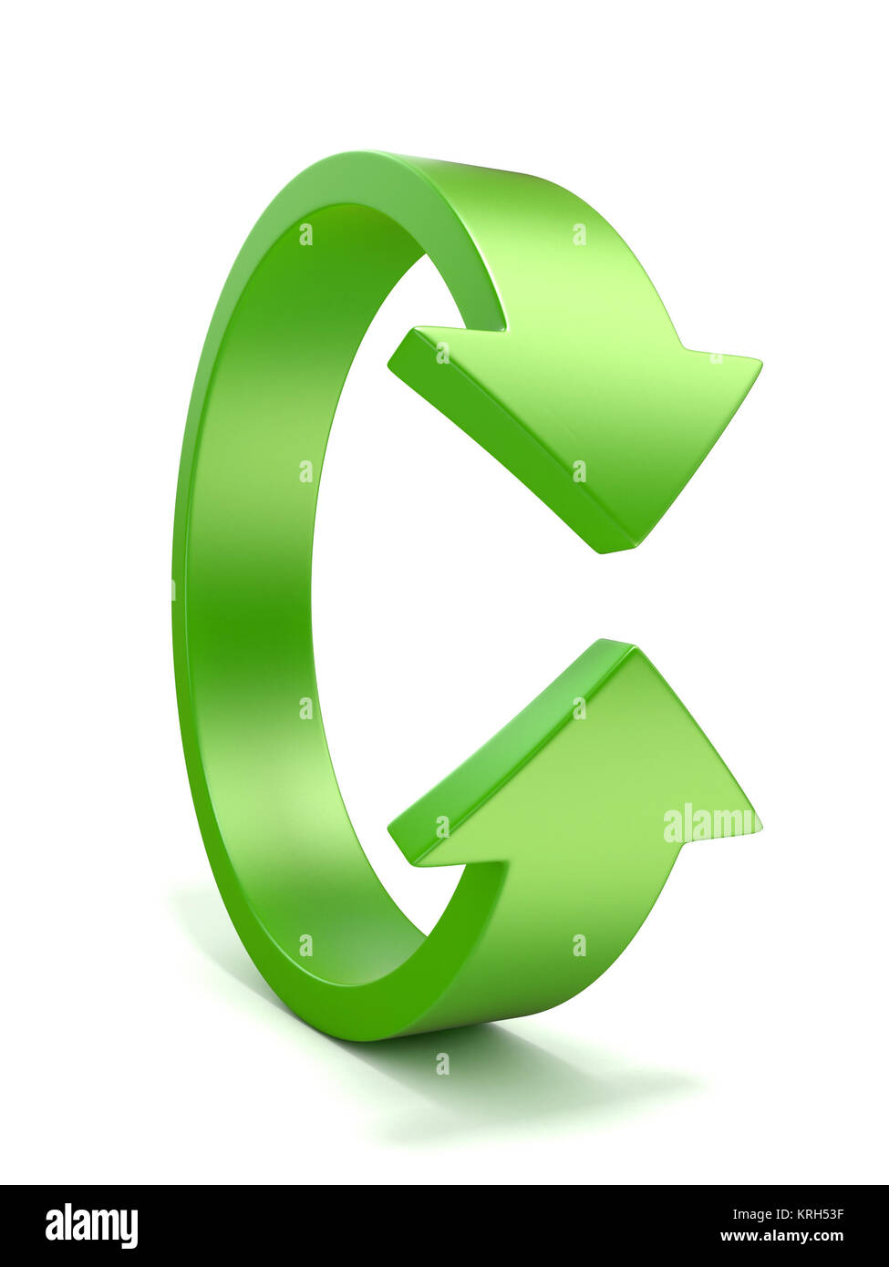 Green, vertical rotation, arrow sign. 3D - Stock Image