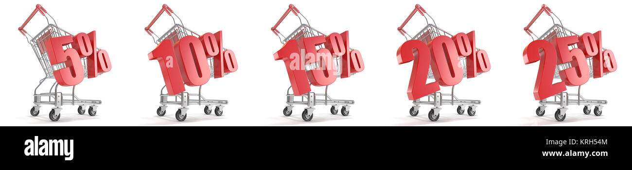 5%, 10%, 15%, 20%, 25%  percent discount in front of shopping cart. Sale concept. 3D Stock Photo