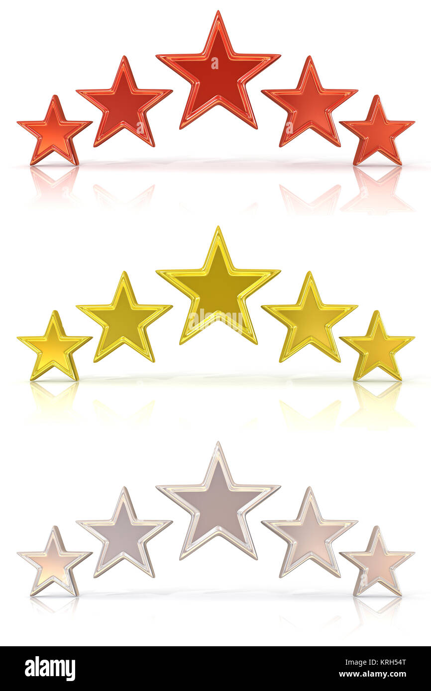 Collection of 3D rendering of five red, gold and white stars - Stock Image