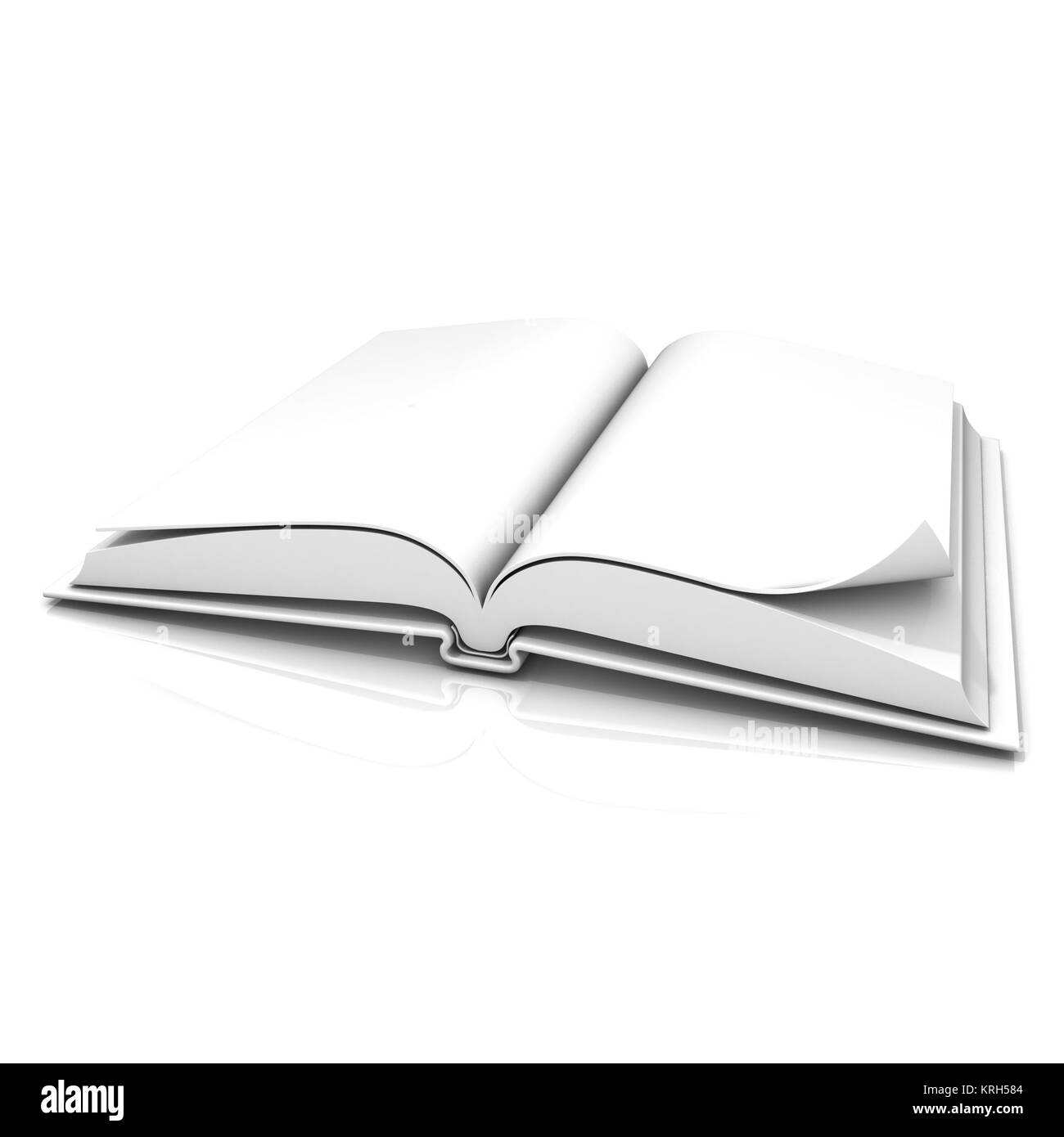 Blank open white book - Stock Image