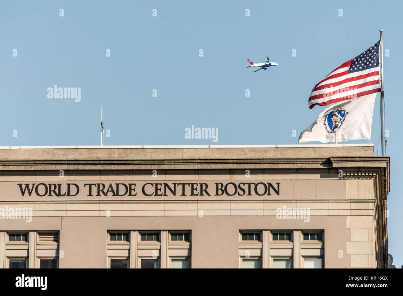 Seaport World Trade Center in Boston The building is located on the Boston waterfront at Commonwealth Pier, in the - Stock Image