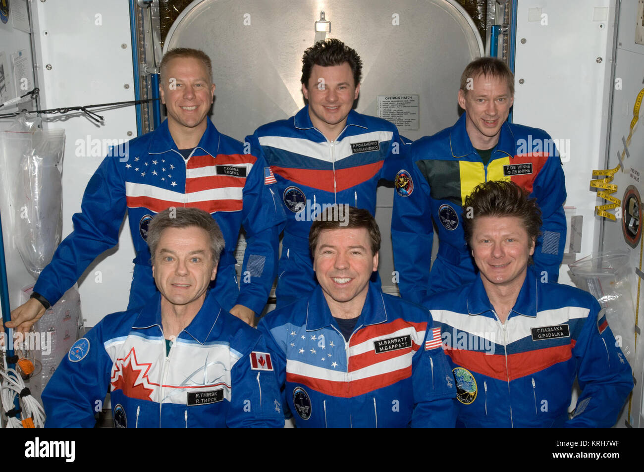 Expedition 20 in-flight crew photo with Timothy Kopra - Stock Image