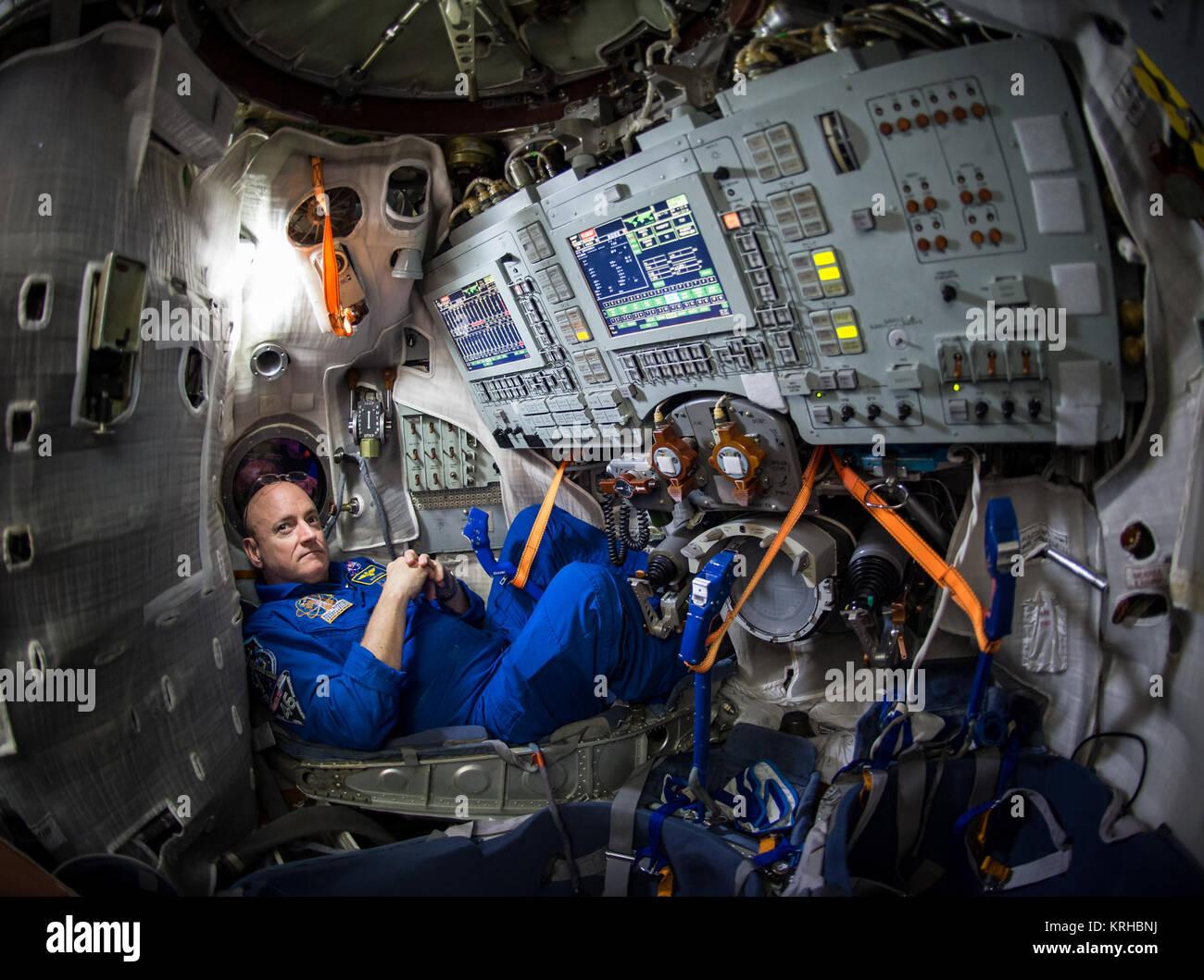 NASA Astronaut Scott Kelly is seen inside a Soyuz simulator at the Gagarin Cosmonaut Training Center (GCTC), Wednesday, - Stock Image
