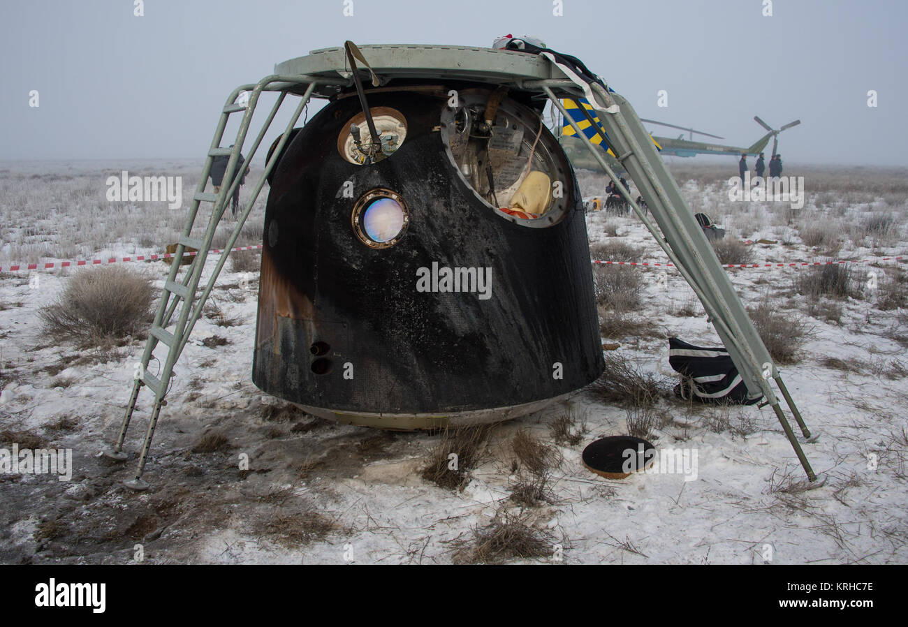The Soyuz TMA-14M spacecraft is seen after it landed with Expedition 42 commander Barry Wilmore of NASA, Alexander - Stock Image
