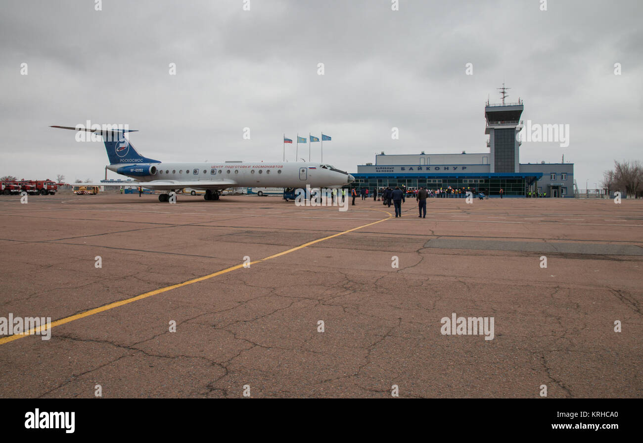 The Gagarin Cosmonaut Training Center (GCTC) aircraft is seen parked at the Kraini Airport after flying Expedition - Stock Image