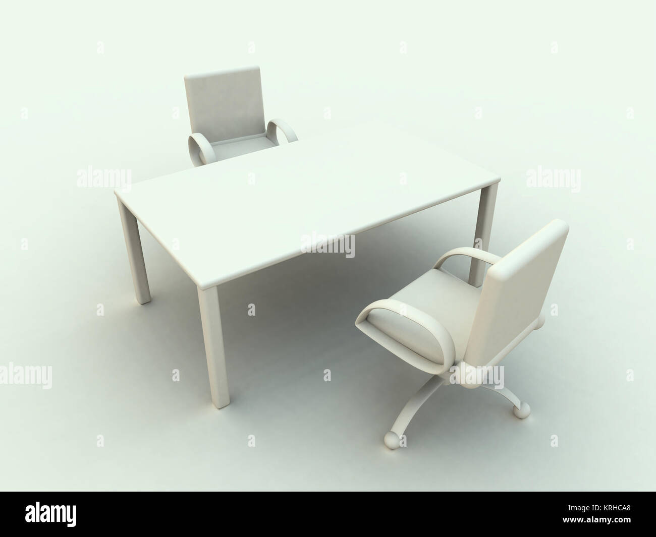 3D rendered office furniture. Surreal white, soft toned HDRI rendering. Stock Photo