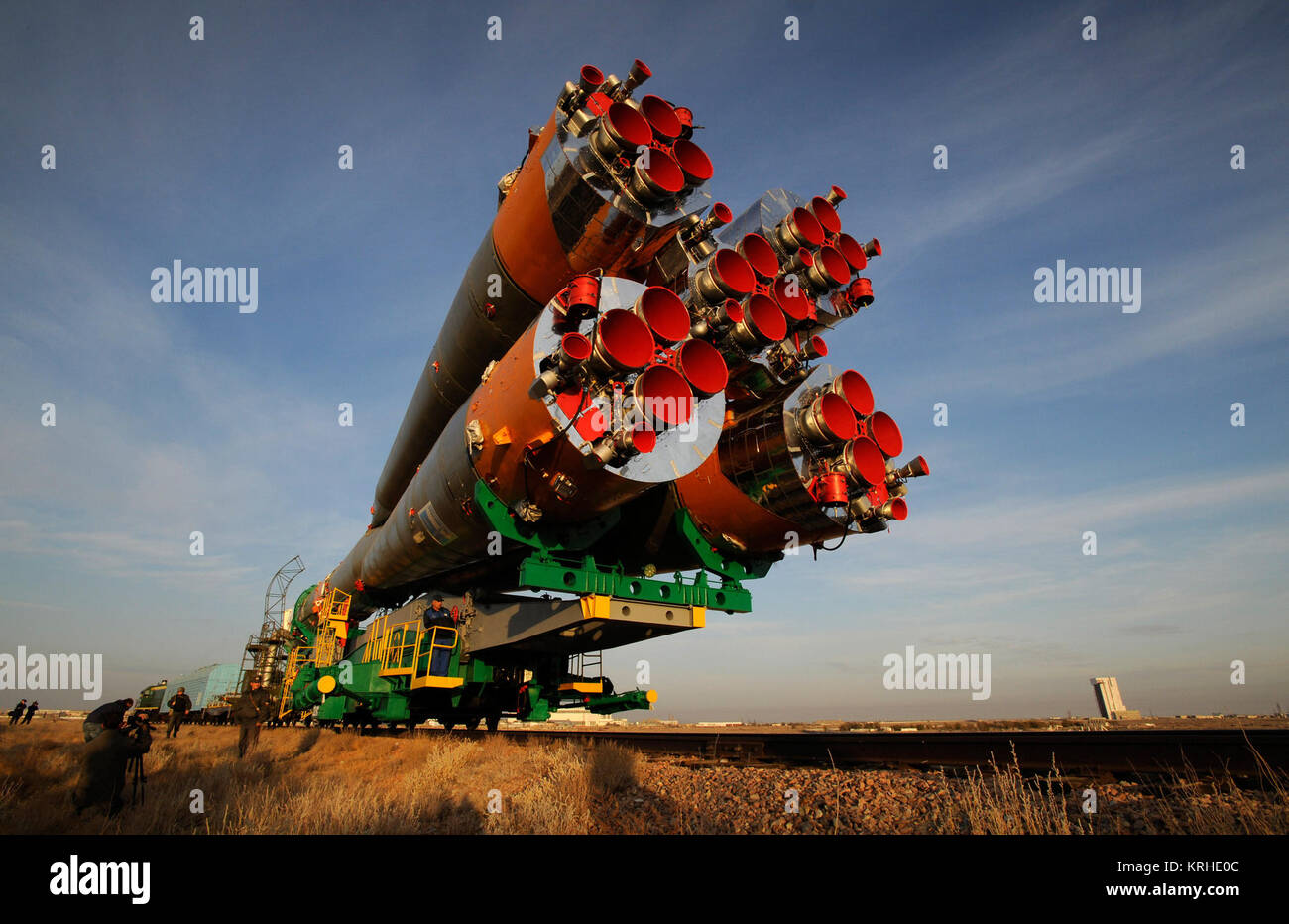 The Soyuz TMA-13 spacecraft is transported by railcar to its launch pad at the Baikonur Cosmodrome in Kazakhstan, - Stock Image