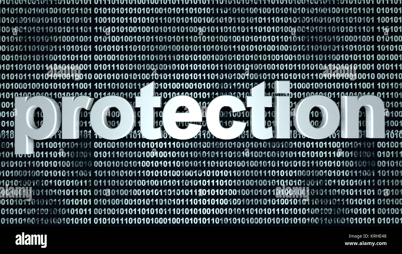 The word protection in front of a binary background symbolizing the digital code of software protecting your computer - Stock Image