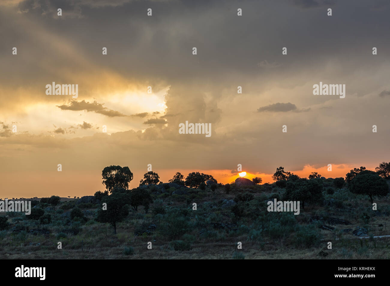 Landscape at sunset in the natural area of the Barruecos. Extremadura. Spain. Stock Photo