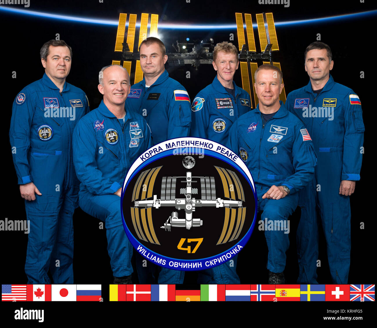 PHOTO DATE: 07-01-15 LOCATION: Bldg. 8, Room 183 - Photo Studio SUBJECT: Official Expedition 47 crew portrait with - Stock Image