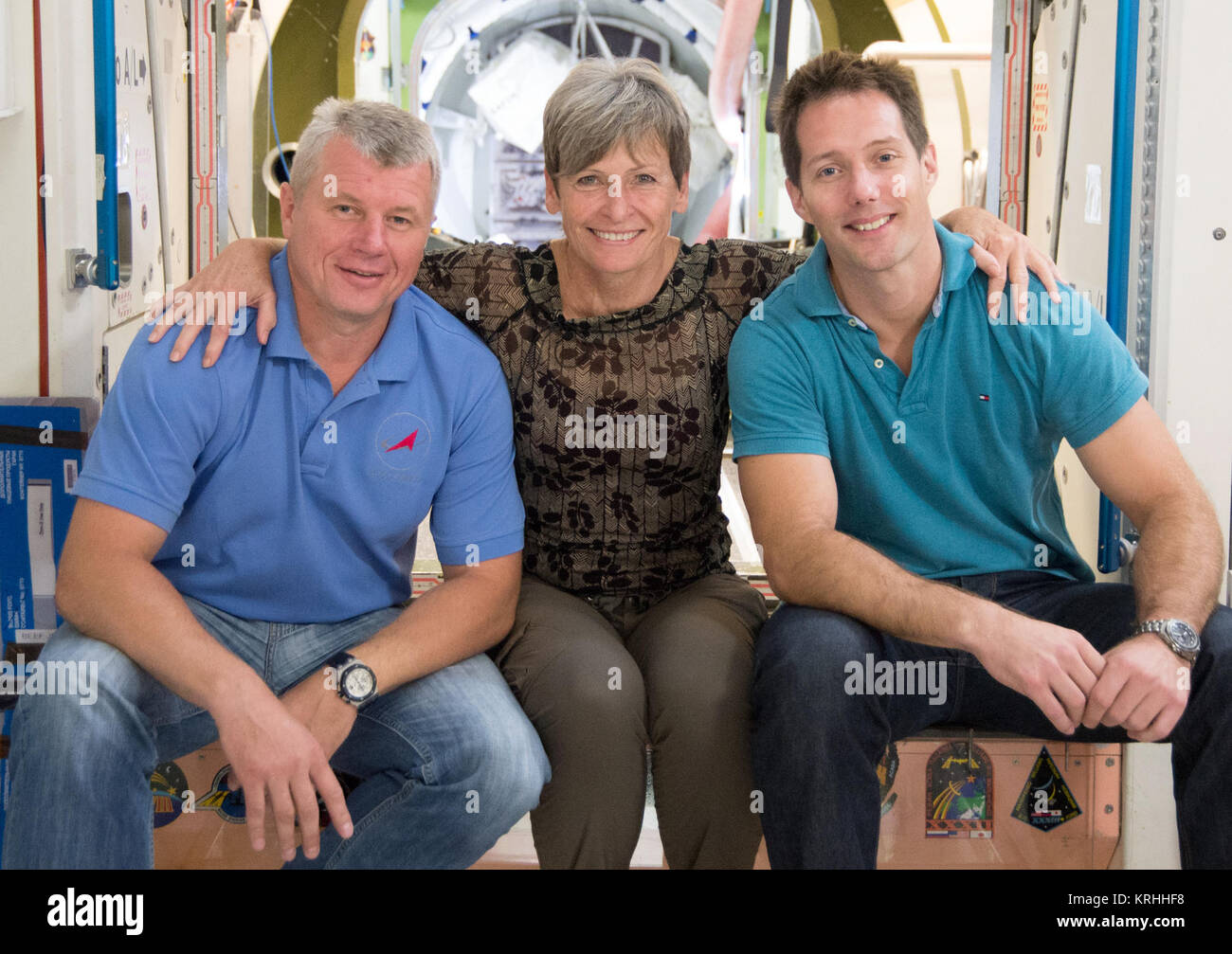 Date: 09-14-15 Location: Bldg 9, ISS Mockups Subject: Expedition 50/51 crew members Peggy Whitson, Thomas Pesquet - Stock Image