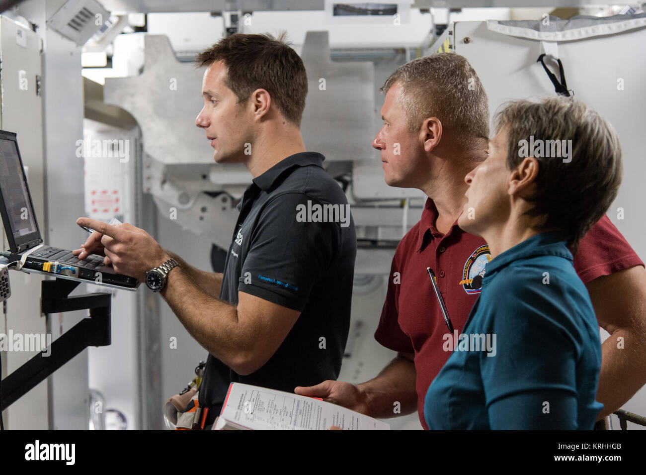 PHOTO DATE: 15 September 2015 LOCATION: Bldg. 9NW - SVMTF - ISS Mockup Trainers SUBJECT: Expedition 50/51 crew members - Stock Image