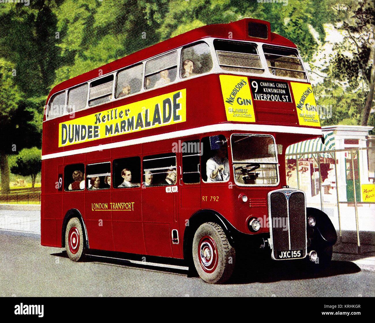 London Transport RT792, AEC RT-type bus, c1950 - Stock Image