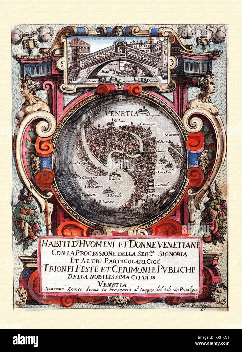 Portada-Habiti d'hvomeni et donne venetiane 1609 - Stock Image