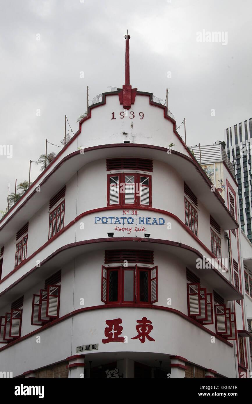 Historic four storey shophouse on Keong Saik Road in Singapore - Stock Image