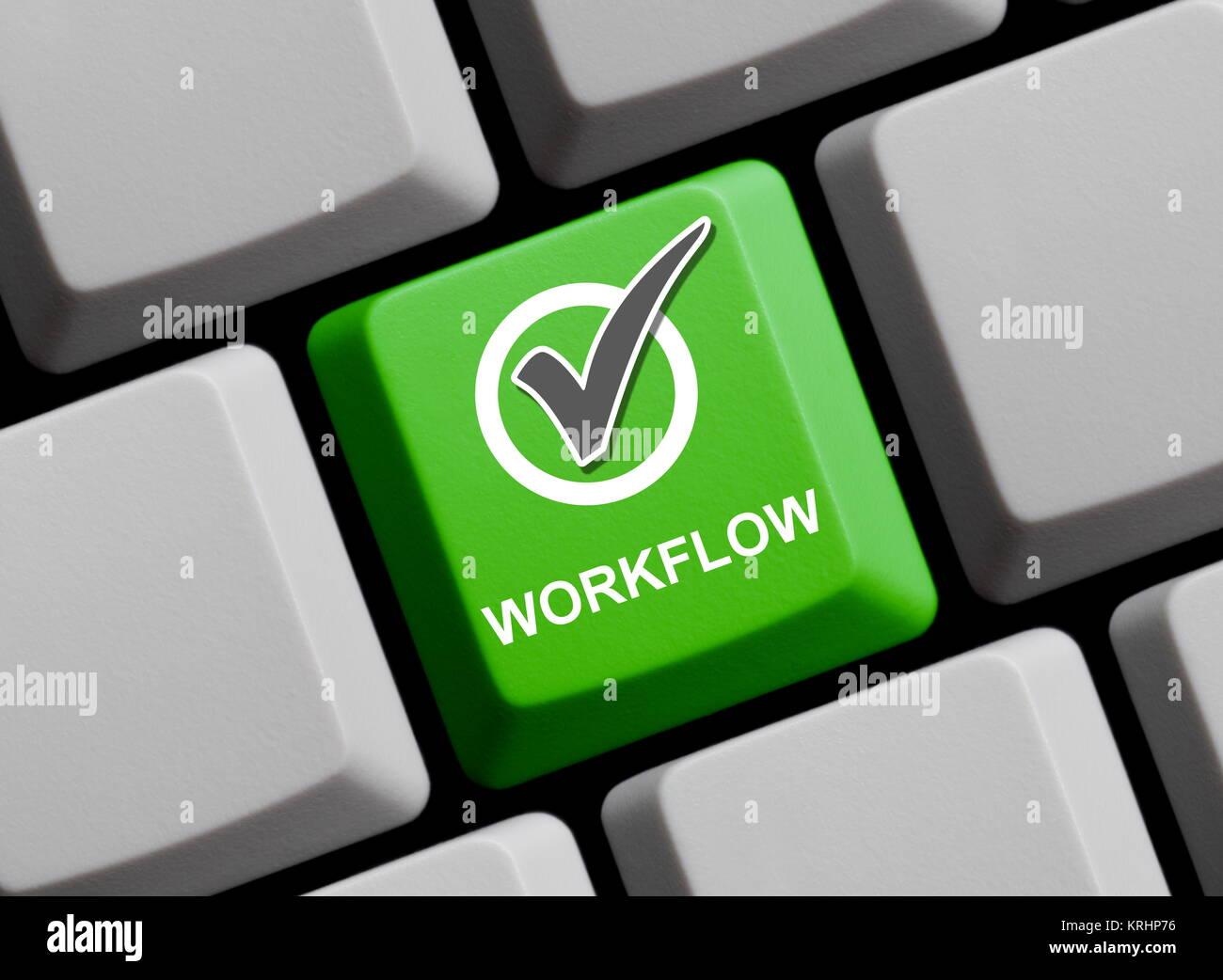 workflow online - Stock Image