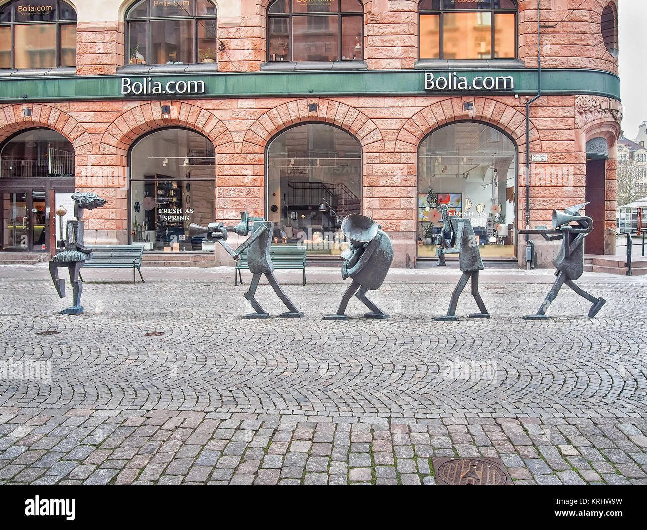 Bronze sculpture The Optimists Orchestra by Yngve Lundell at Sodergatan street in Malmo Sweden - Stock Image