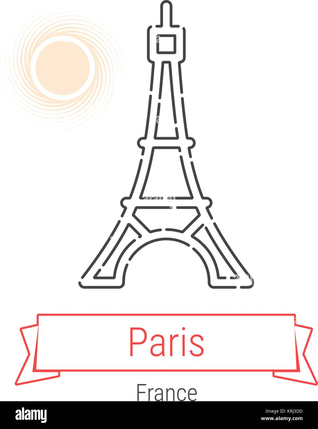 Paris, France Vector Line Icon with Red Ribbon Isolated on White. Parice Landmark - Emblem - Print - Label - Symbol. - Stock Vector