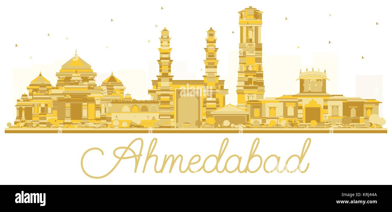 Ahmedabad India City skyline golden silhouette. Vector illustration. Simple flat concept for tourism presentation, - Stock Vector