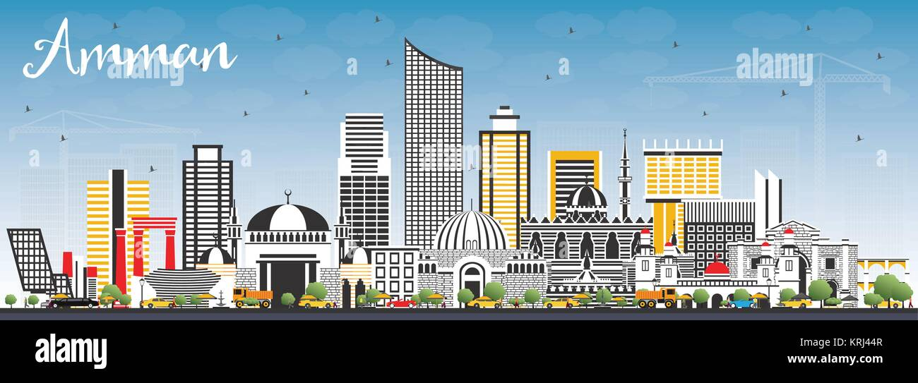 4dc9ec171ee6 Amman Jordan Skyline with Color Buildings and Blue Sky. Vector  Illustration. Business Travel and Tourism Concept with Modern Architecture.  Amman City