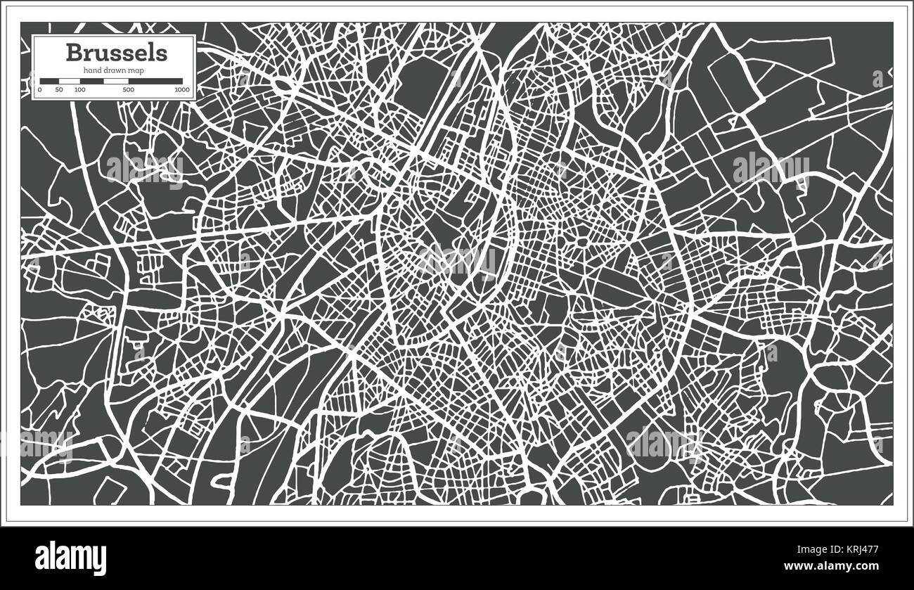 Brussels Belgium Map in Retro Style. Vector Illustration. Outline Map. - Stock Image