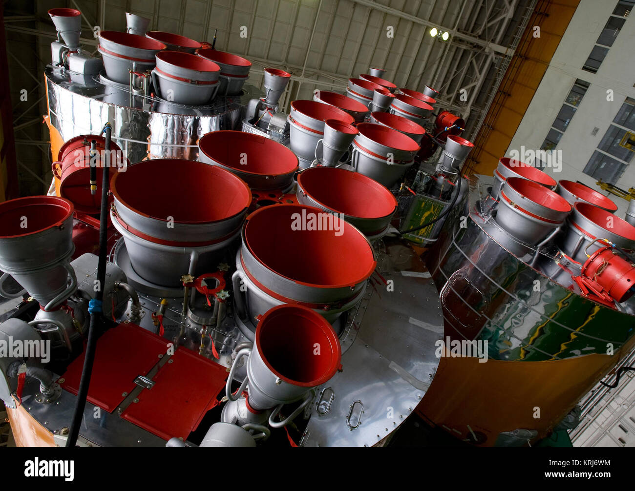 The boosters of the Soyuz rocket are seen as the Soyuz TMA-14 spacecraft and boosters are assembled Monday, March - Stock Image