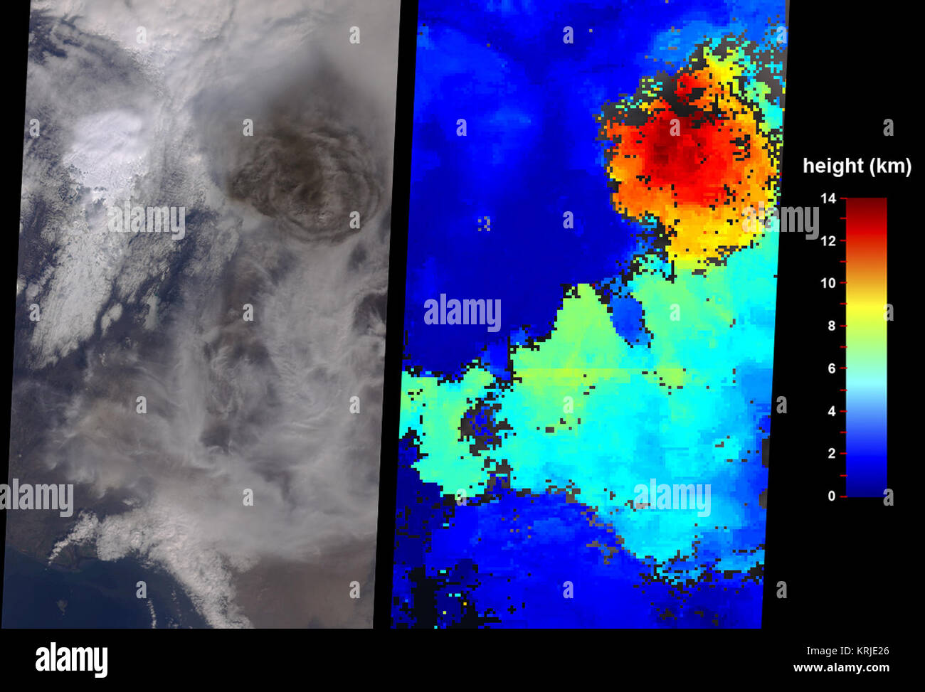 IDL TIFF file Grímsvötn Volcano Injects Ash into the Stratosphere, 05-22-2011 - Stock Image